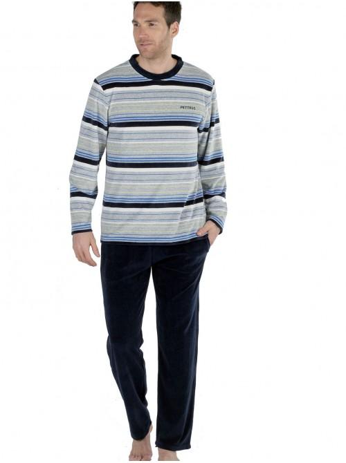 Pijama hombre Pettrus terciopelo gris rayas colores bolsillos