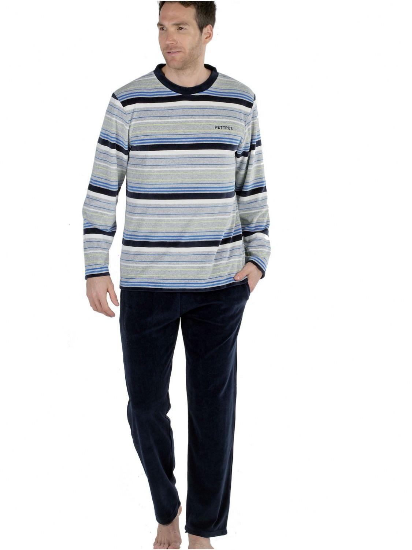 9349f24bd5 Pijama hombre Pettrus terciopelo gris rayas colores bolsillos