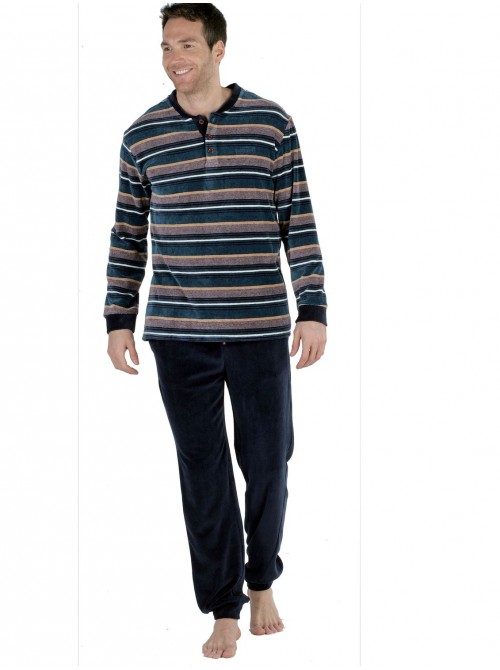 Pijama hombre Pettrus terciopelo petróleo rayas bolsillos