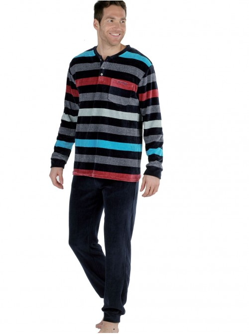 Pijama hombre Pettrus terciopelo rayas multicolor bolsillos