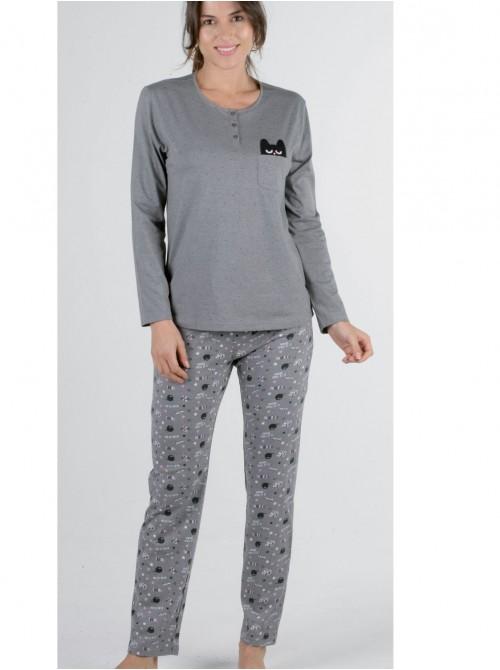 Pijama mujer Pettrus punto gris cuello abierto bolsillos