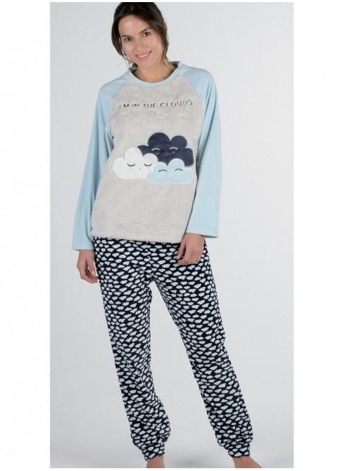 Pijama mujer térmico Pettrus corel celeste nubes