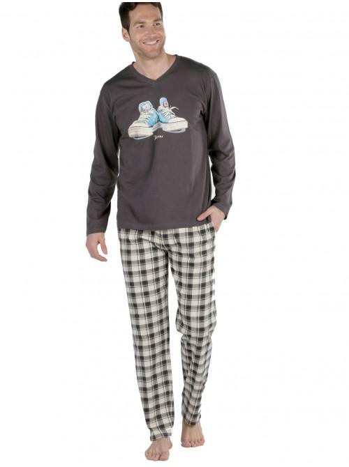 Pijama hombre Pettrus marrón zapatillas algodón ecológico sostenible