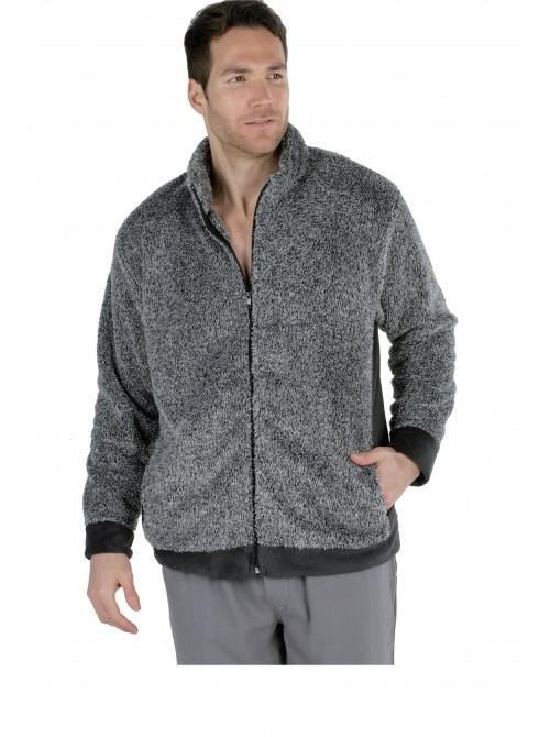 Bata chaqueta térmica hombre Pettrus, coralina gris bolsillos