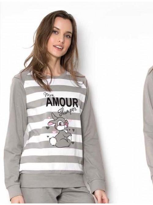 Pijama mujer Disney Thumper Mon amour largo algodón en camel o gris otoño invierno