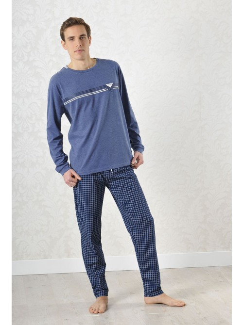Pijama hombre Privata cuadros azul algodón puños