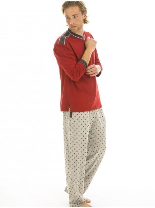 Pijama hombre J&J Brothers rojo algodón bolsillos