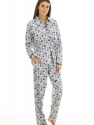 Pijama largo mujer J&J Brothers algodón flores abierto bolsillos