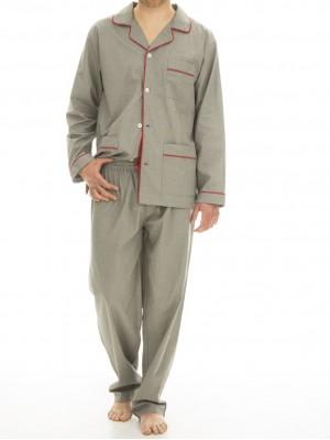 Pijama hombre J&J Brothers popeline cuadros abierto bolsillos