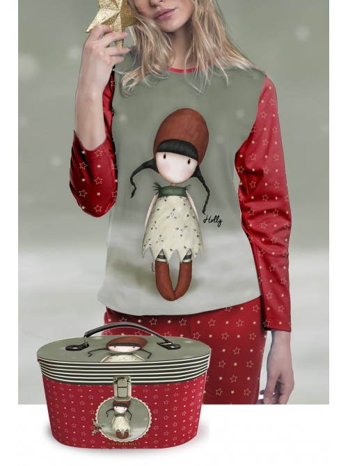Pijama niña Santoro Gorjuss Holly Navidad rojo cofre regalo