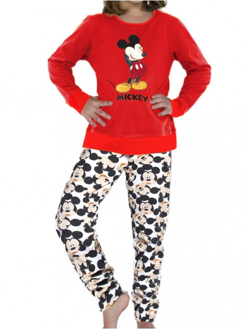 Pijama niña Disney Mickey Navidad rojo algodón