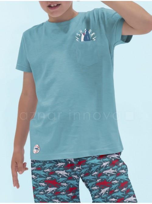 Pijama corto niño Admas Sharks algodón turquesa