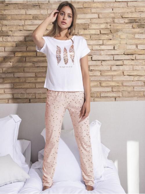 Pijama pantalón largo mujer Admas Gold Feat algodón modal blanco
