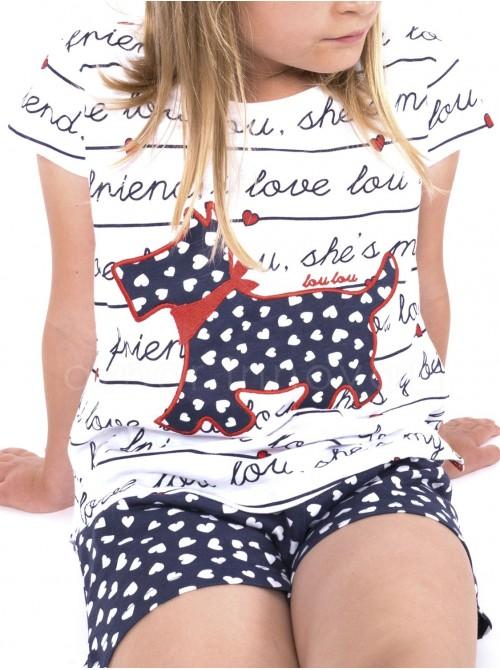 Pijama corto niña Admas Lou Lou algodón blanco