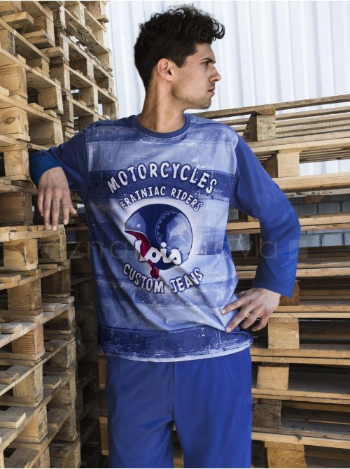 Pijama largo hombre Lois Motorcycles algodón azul