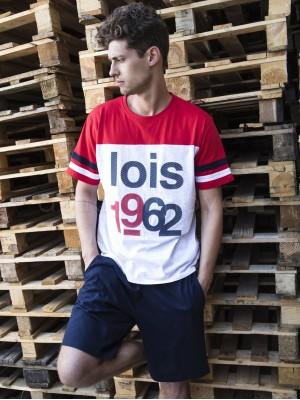 Pijama corto hombre Lois 1962 algodón rojo blanco