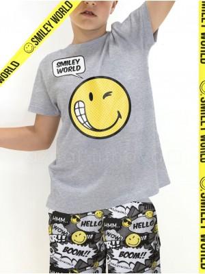 Pijama juvenil Smiley World Boom algodón verano bolsillos