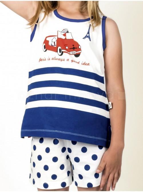 Pijama juvenil Nina París algodón marino bote regalo