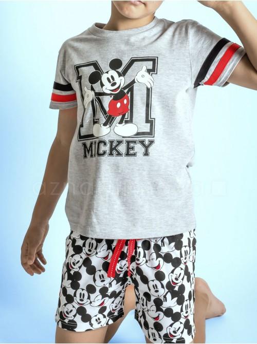 Pijama niño Disney Mickey gris algodón verano