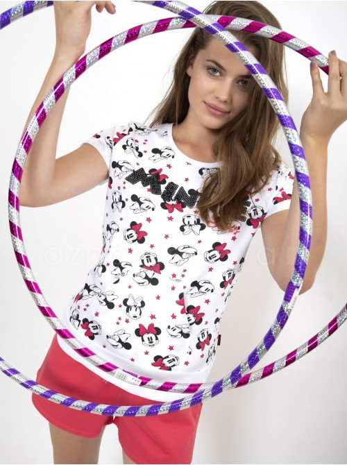 Pijama mujer Disney Minnie Bowtiful Faces blanco algodón