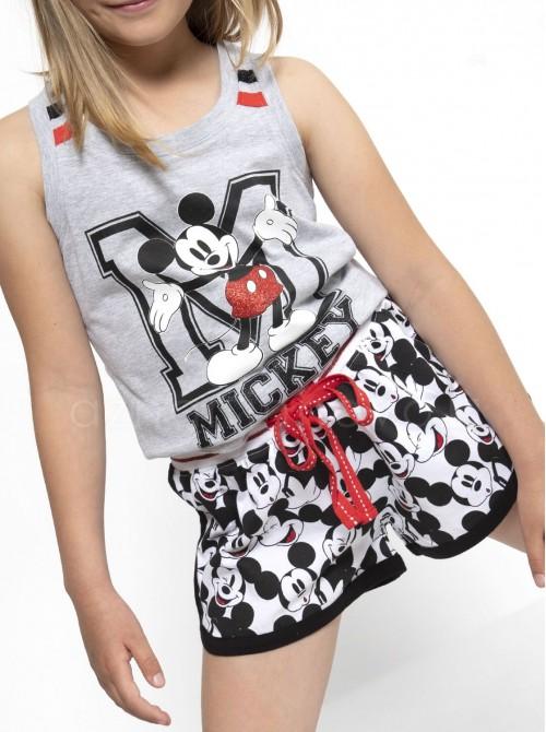 Pijama niña Disney Mickey gris algodón hombrera