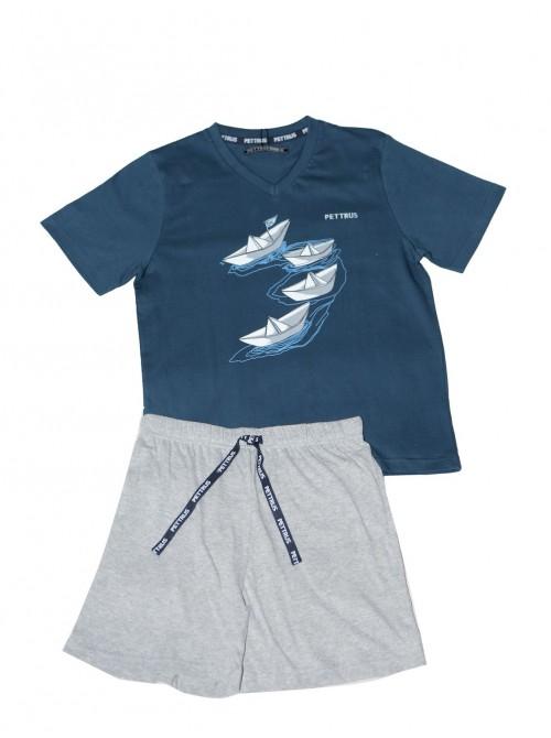 Pijama niño corto Pettrus algodón barcos