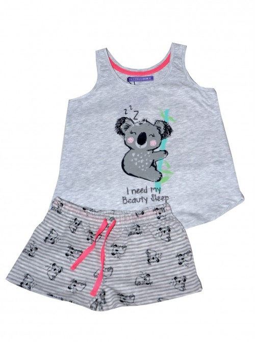 Pijama niña corto Pettrus koala gris algodón