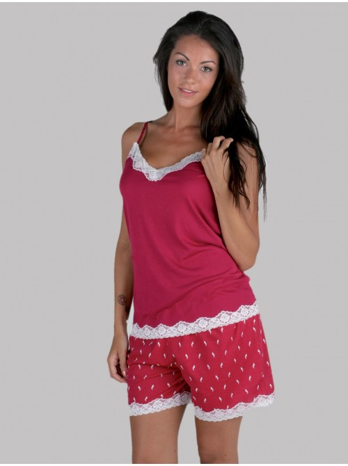 Pijama mujer corto Pettrus tirante frambuesa viscosa