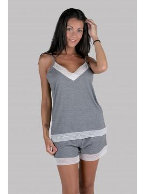 Pijama lencero mujer corto Pettrus tirante gris