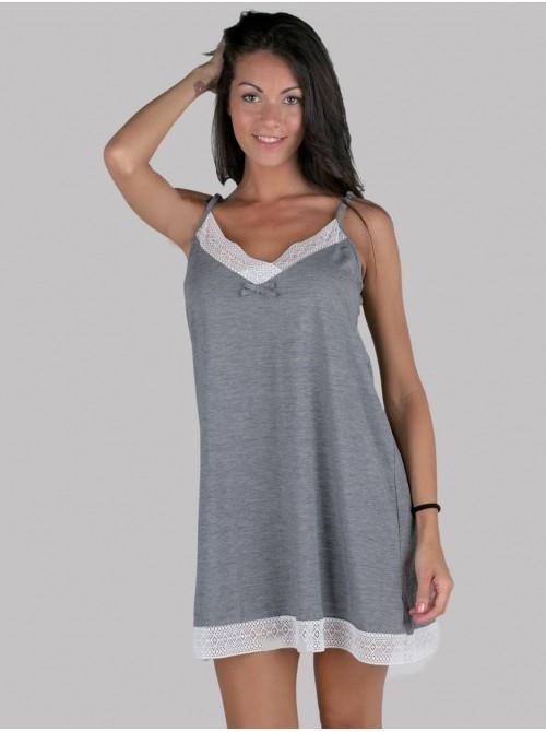 Camisón lencero mujer corto Pettrus tirante gris