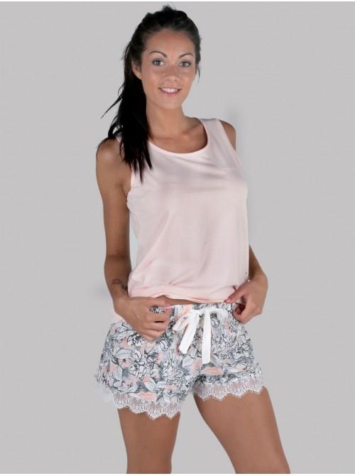 Pijama mujer corto Pettrus hombrera algodón
