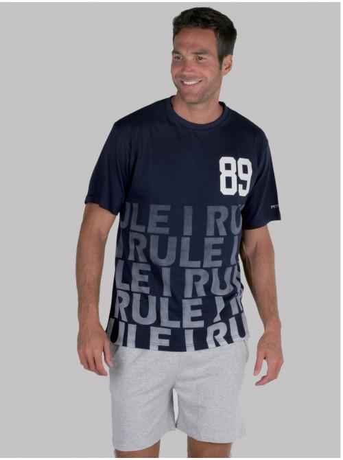Pijama hombre verano Pettrus algodón azul