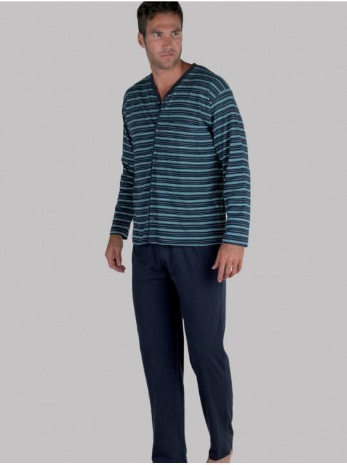 Pijama largo hombre abierto Pettrus algodón ecológico