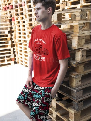 Pijama hombre Lois Jackets algodón rojo bolsillos verano