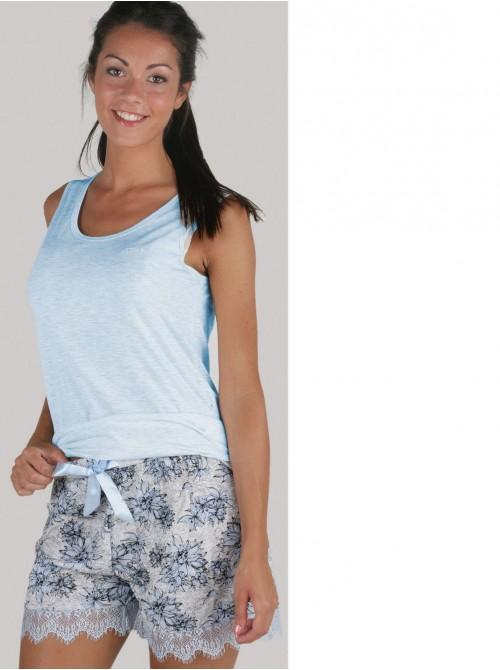 Pijama mujer corto Pettrus hombrera azul viscosa