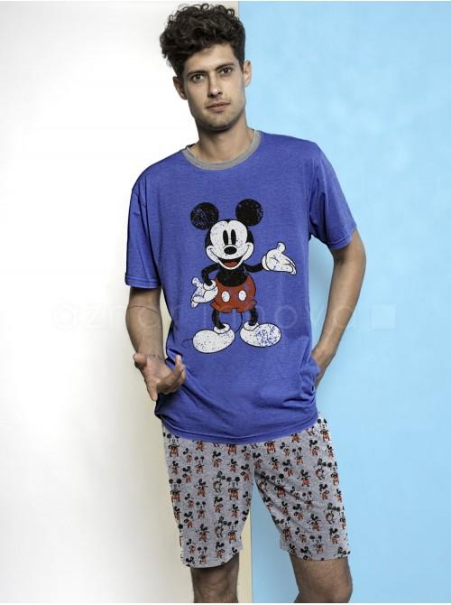 Pijama hombre Disney Mickey azul vigoré algodón