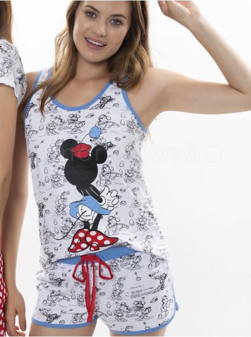 Pijama mujer Disney Minnie blanco algodón verano