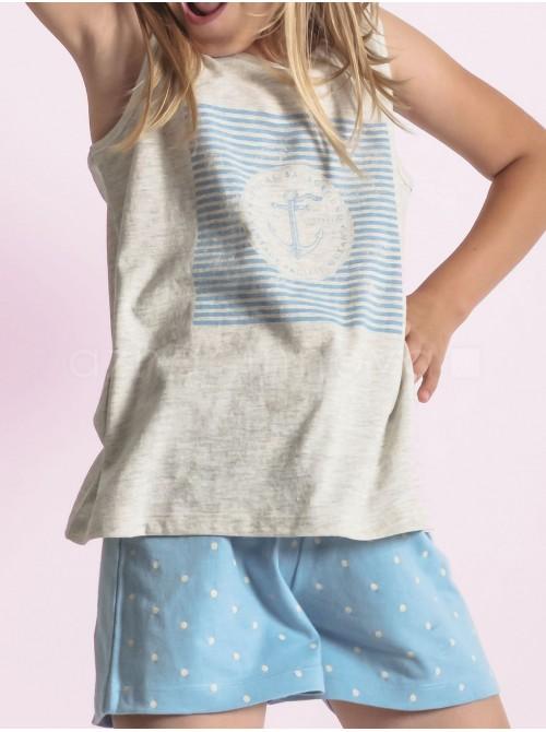 Pijama corto niña Admas familar marinero algodón