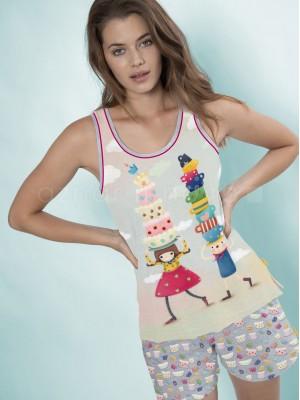 Pijama mujer Santoro Gorjuss Tea Party algodón verano