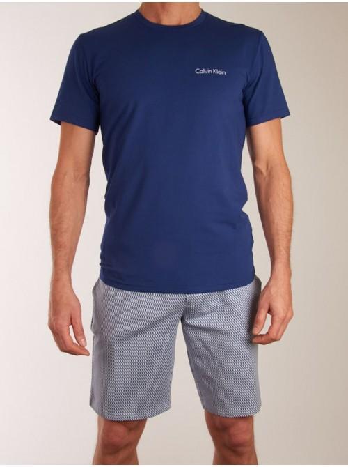 Pijama hombre Calvin Klein azul punto algodón verano