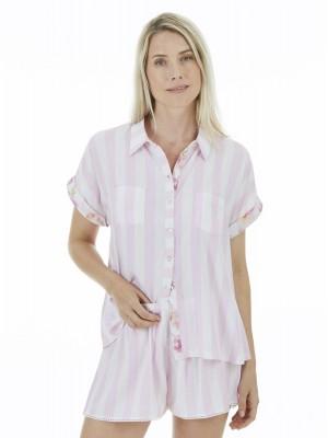 Pijama mujer J&J Brothers rayas rosa abierto viscosa