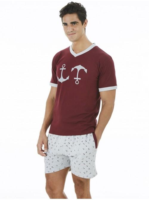 Pijama hombre J&J Brothers bolsillos burdeos algodón