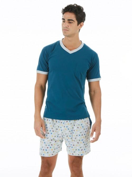 Pijama hombre J&J Brothers bolsillos azul algodón