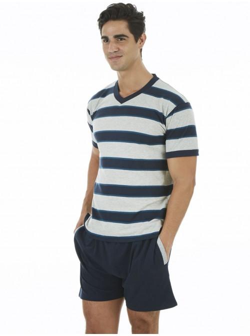 Pijama hombre J&J Brothers bolsillos rayas algodón