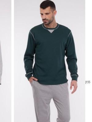 Pijama hombre Rachas&Abreu gris verde invierno