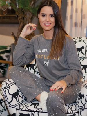 Pijama mujer Rachas&Abreu gris invierno