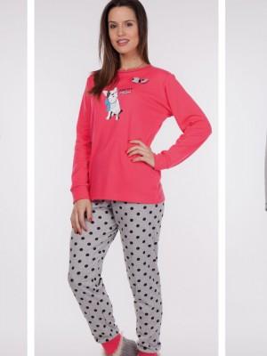Pijama mujer Rachas&Abreu rosa gris invierno