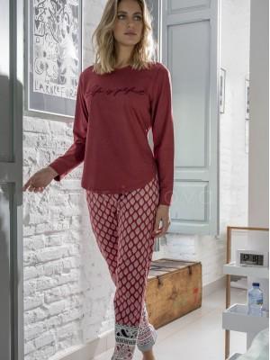 Pijama mujer ADMAS Life Perfect burdeos algodón