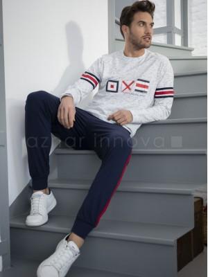 Pijama hombre ADMAS Stay at home banderas algodón
