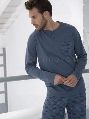 Pijama hombre ADMAS Dino azul algodón